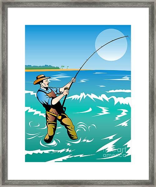 Fisherman Surf Casting Framed Print