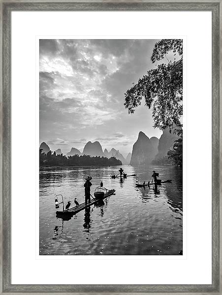 Fishermen At Dawn. Framed Print