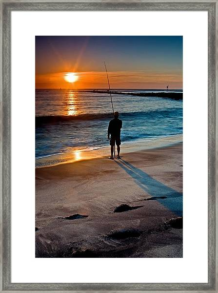 Fishing At Dawn On The Indian River Inlet Framed Print