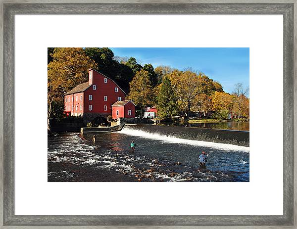 Fishing At The Old Mill Framed Print