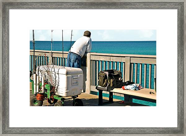 Fishing At The Pier Framed Print
