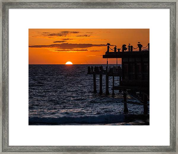 Fishing At Twilight Framed Print