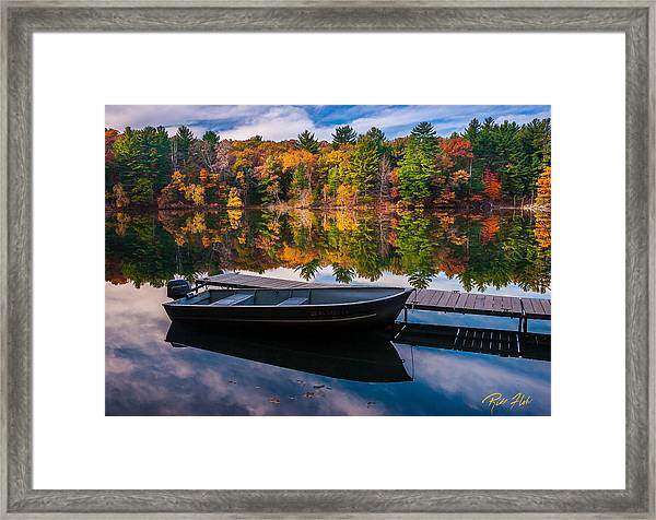 Fishing Boat On Mirror Lake Framed Print