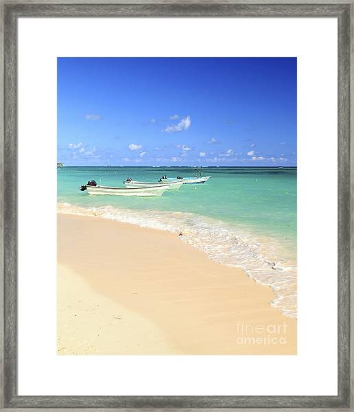 Fishing Boats In Caribbean Sea Framed Print