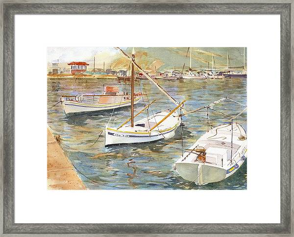 Fishing Boats In Skopelos Framed Print