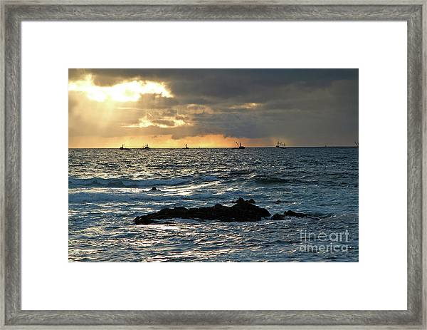 Fishing Boats Off Point Lobos Framed Print
