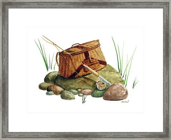 Fishing Creel Bamboo Fly Rod Framed Print