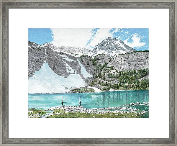 Framed Print featuring the painting Fishing Gem Lake by Kevin Daly