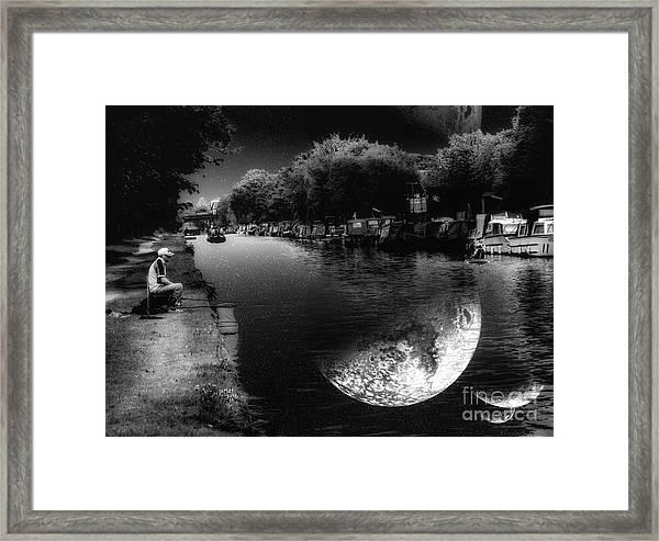 Fishing In The Moonlight Framed Print