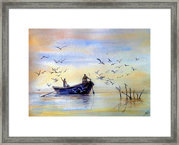 Framed Print featuring the painting Fishing by Katerina Kovatcheva