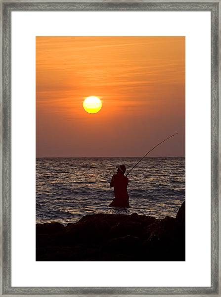 Fishing Lido Beach Framed Print