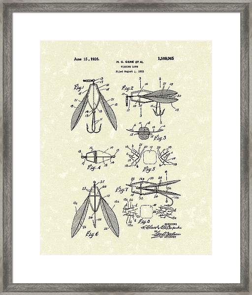 Fishing Lure 1926 Patent Art  Framed Print