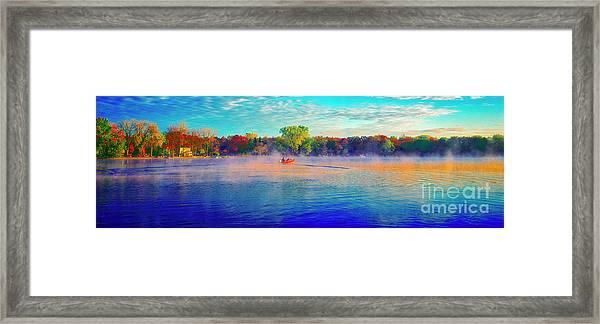 Fishing On Crystal Lake, Il., Sport, Fall Framed Print