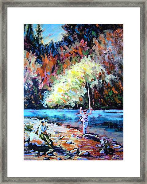 Fishing Painting Catch Of The Day Framed Print