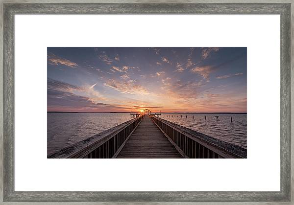 Fishing Pier Sunrise Framed Print by Michael Donahue
