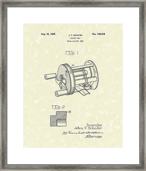 Fishing Reel 1937 Patent Art Framed Print
