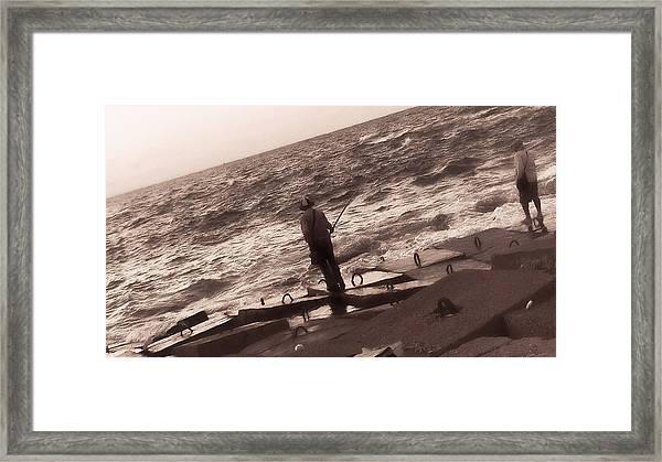 Men Fishing, Alexandria, Egypt Framed Print