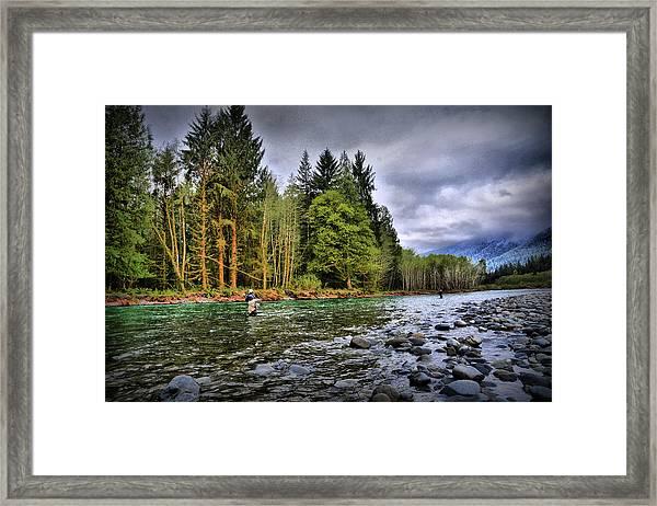 Fishing The Run Framed Print