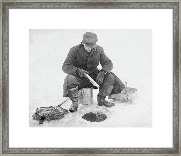 Fishing Through Ice Framed Print