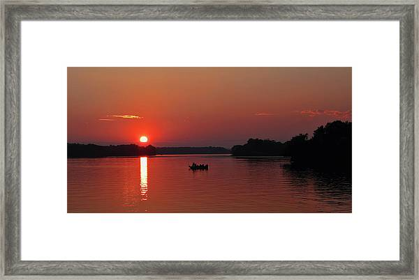 Fishing Until Sunset Framed Print