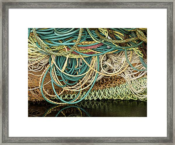Fishnets And Ropes Framed Print