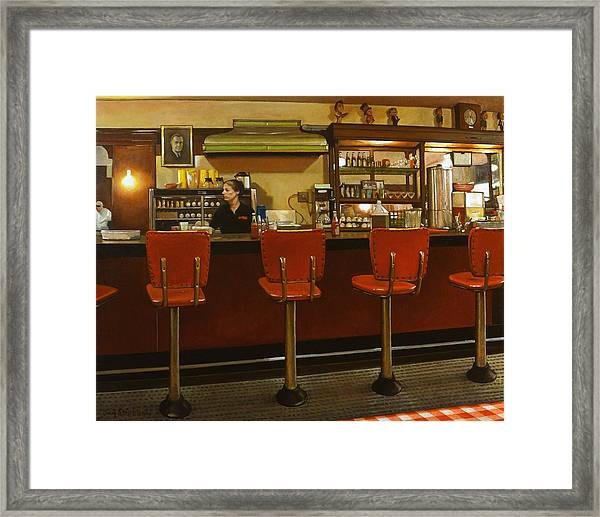 Five Past Six At The Mecca Cafe Framed Print by Doug Strickland