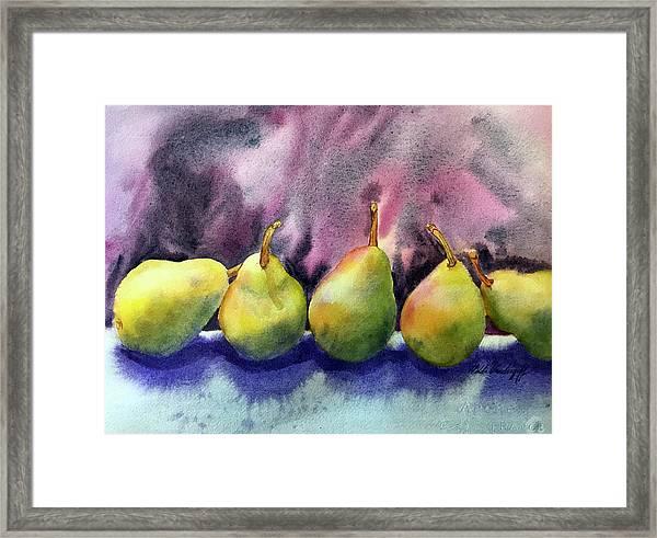 Five Pears Framed Print