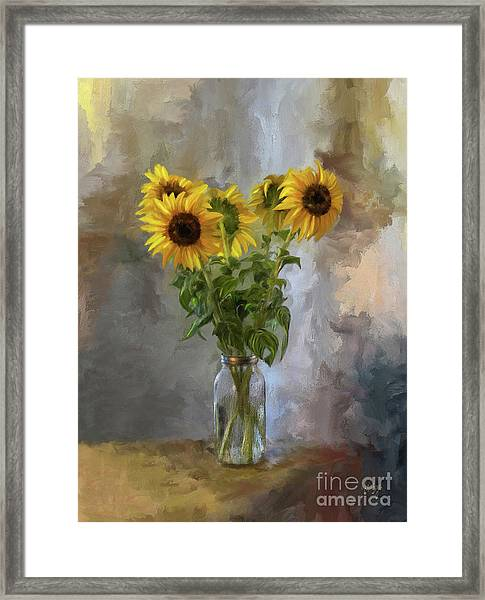 Framed Print featuring the digital art Five Sunflowers Centered by Lois Bryan