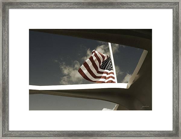 Flag At Half Mast Over Pearl Harbor Monument - Hawaii Framed Print