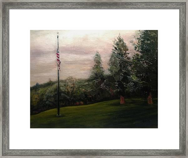 Flag Pole At Harborview Park Framed Print