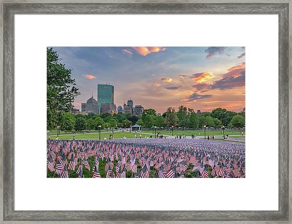 Flag Sunset On Boston Common Framed Print