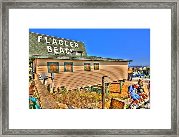 Flagler Pier Postcard Framed Print