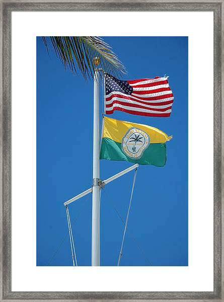 Flags At Beach Patrol Hq - Miami Framed Print