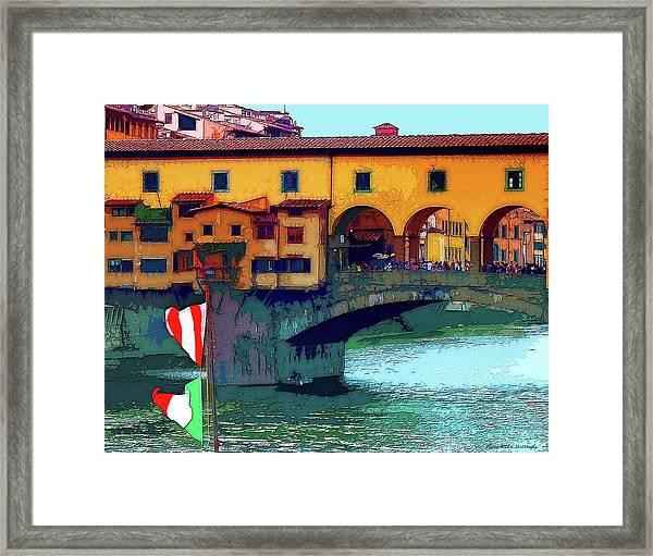 Flags At Ponte Vecchio Bridge Framed Print