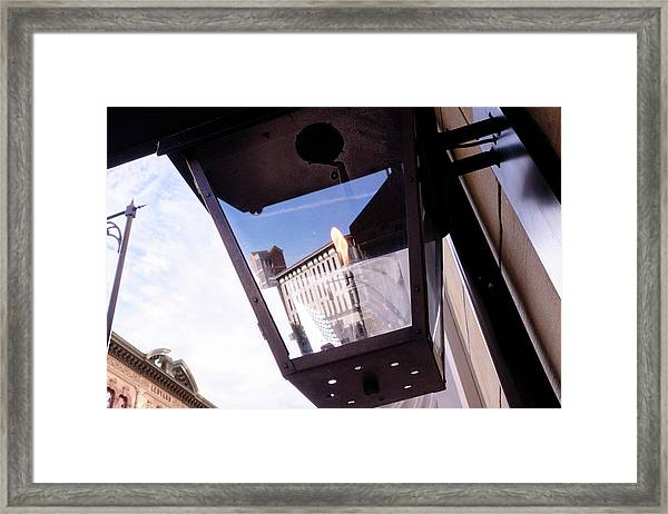 Flame In A Light Box Outdoors On The Street In Grand Rapids Michigan Framed Print