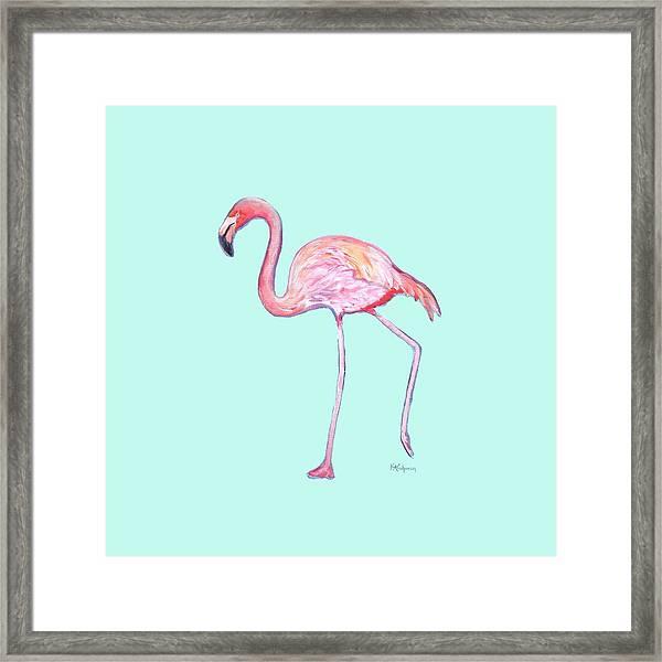 Flamingo On Mint Background Framed Print