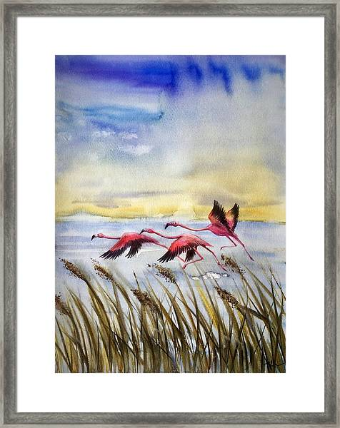 Framed Print featuring the painting Flamingoes Flight by Katerina Kovatcheva