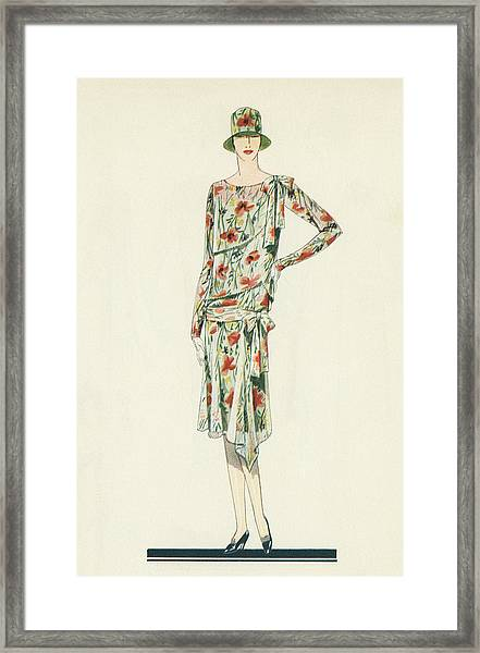 Flapper In An Afternoon Dress Framed Print