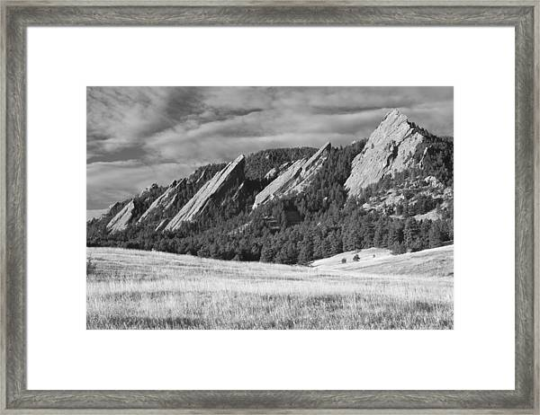 Flatiron Morning Light Boulder Colorado Bw Framed Print