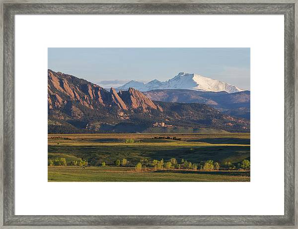 Flatirons And Longs Peak Framed Print