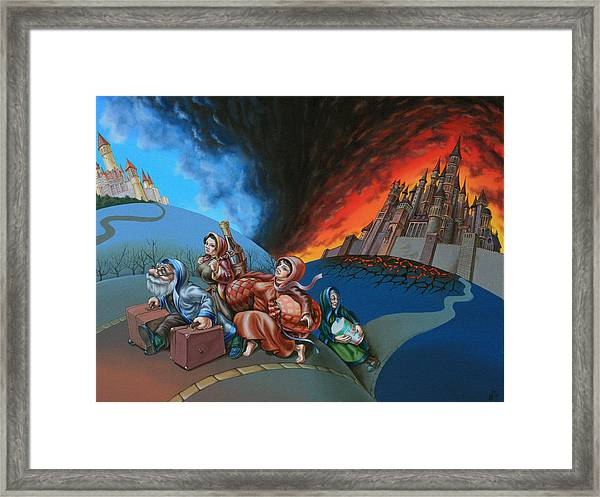 Flight Of Lot Out From Sodom Framed Print