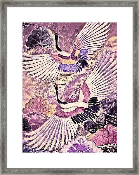 Flight Of Lovers - Kimono Series Framed Print