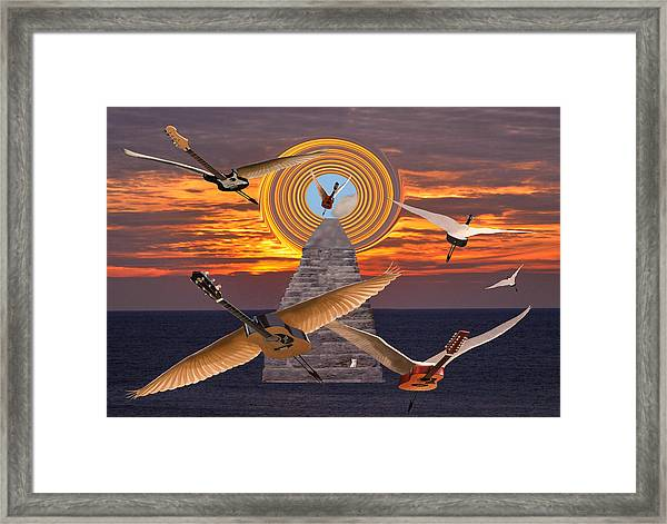 Framed Print featuring the mixed media Flight Of The Guitars by Eric Kempson
