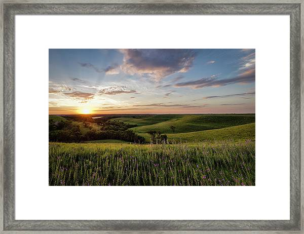 Flint Hills Sunset Framed Print by Scott Bean