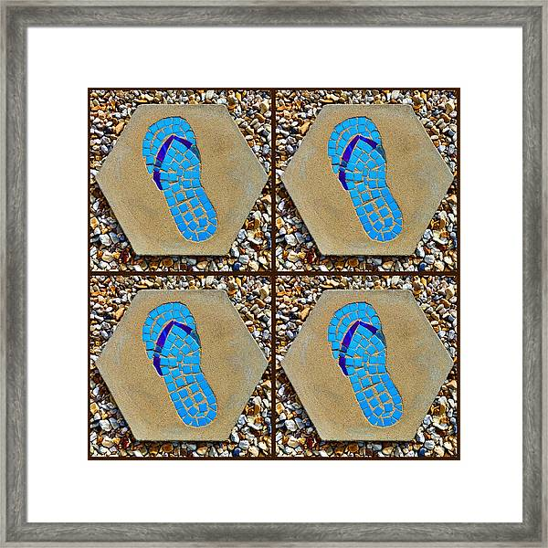 Flip Flop Square Collage Framed Print