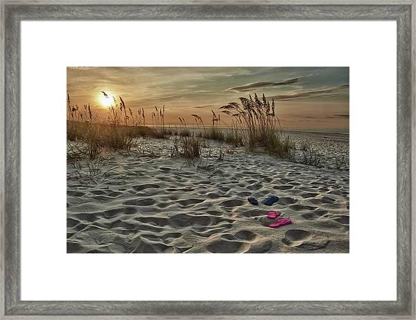 Flipflops On The Beach Framed Print