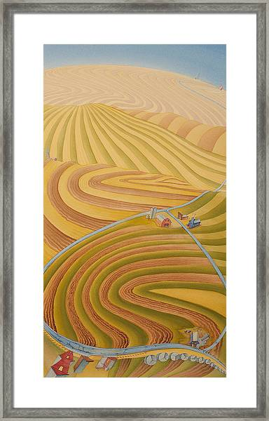 Framed Print featuring the painting Floating Over Fields II by Scott Kirby