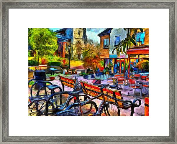 Floppy Bikes And Empty Benches Framed Print