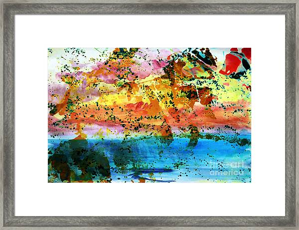 Framed Print featuring the painting Rustic Landscape Abstract  D2131716 by Mas Art Studio