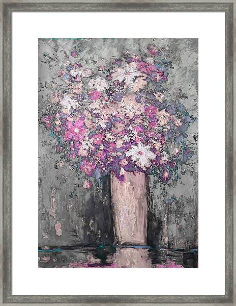 Floral Abstract - Reverse - Modern Impressionist Palette Knife Work Framed Print